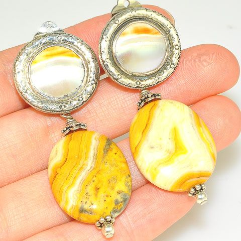 Sterling Silver Crazy Lace Agate and Shell Clip-On Earrings