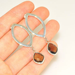 Sterling Silver Smoky Quartz Dangle Earrings