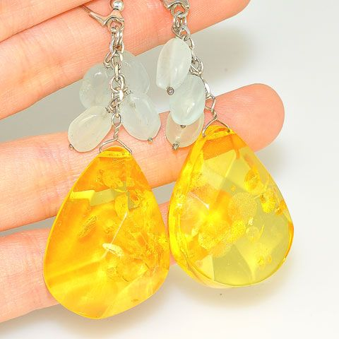 Sterling Silver Baltic Honey Amber and Aquamarine Earrings