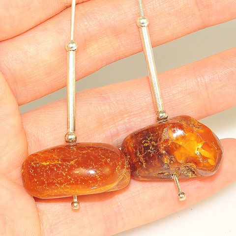 Sterling Silver Baltic Amber Nugget Earrings