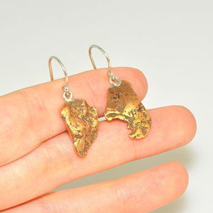 Sterling Silver Copper Nugget Earrings