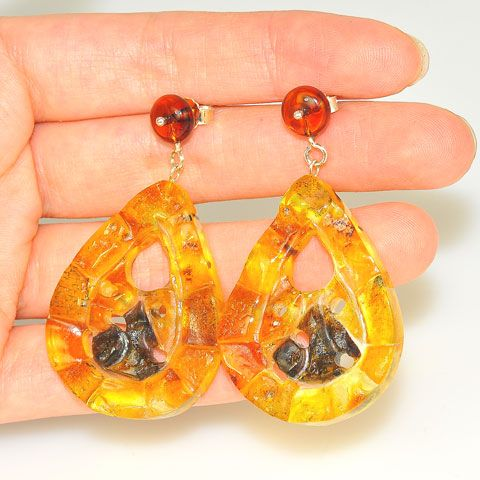Sterling Silver Baltic Amber Mosaic Pear Dangle Earrings