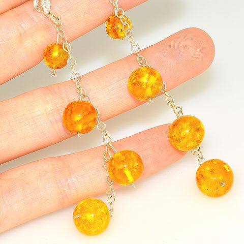 Sterling Silver Baltic Honey Amber Sphere Dangle Earrings