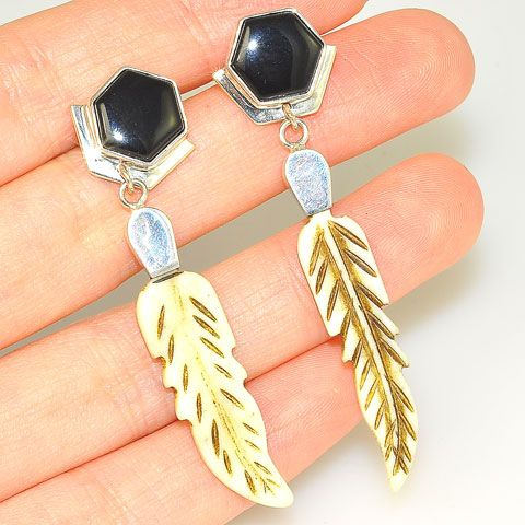 Sterling Silver Black Onyx and Carved Bone Feather Dangle Earrings