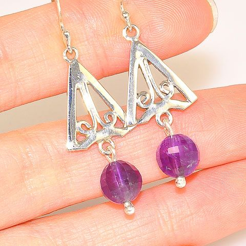 Sterling Silver Amethyst Bead Dangle Earrings