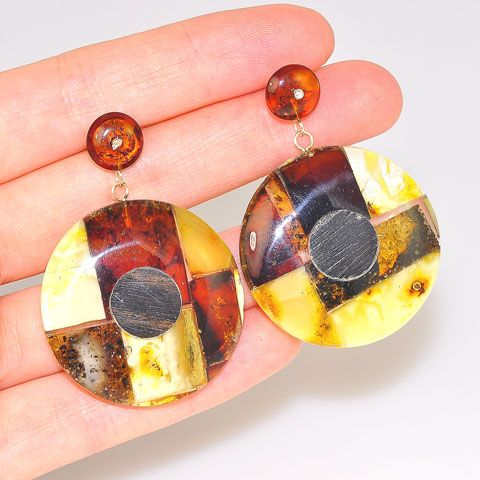 Sterling Silver, Baltic Amber, and Ebony Wood Mosaic Stud Earrings