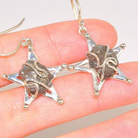 Sterling Silver Meteorite Nugget Star Earrings