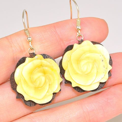 Sterling Silver Carved Baltic Butterscotch Amber and Wood Flower Earrings