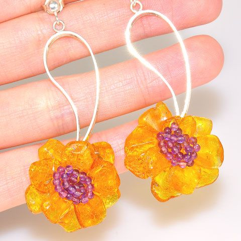 Sterling Silver Baltic Honey Amber and Amethyst Flower Earrings