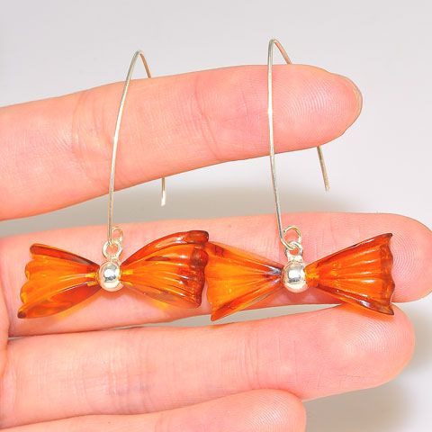 Sterling Silver Baltic Honey Amber Bow Design Earrings