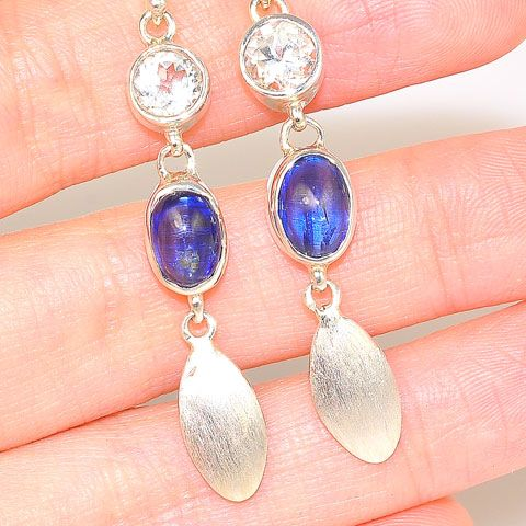 Sterling Silver Kyanite and White Topaz Dangle Earrings