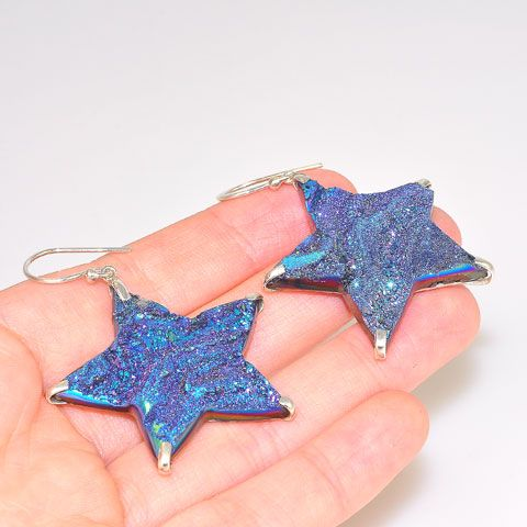 Sterling Silver Titanium Druzy Star Earrings
