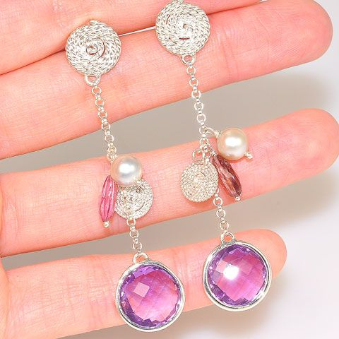 Sterling Silver Amethyst and Pink Tourmaline Chain Dangle Earrings