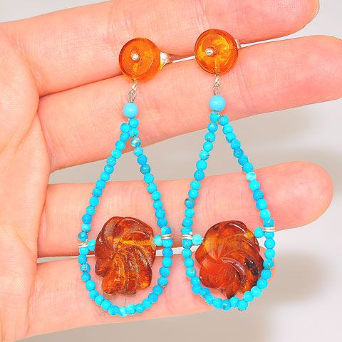 Sterling Silver Baltic Honey Amber Pinwheel and Turquoise Beaded Earrings