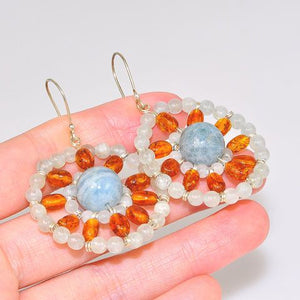 Sterling Silver Baltic Honey Amber and Aquamarine Bead Earrings