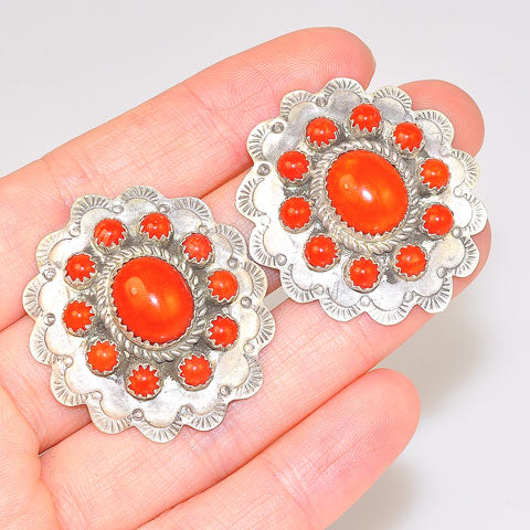 Native American Sterling Silver Red Coral Flora Earrings
