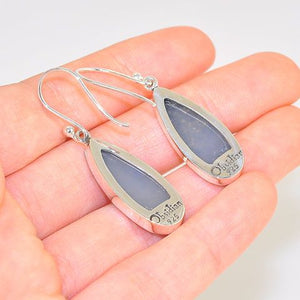 Sterling Silver Titanium Druzy Dangle Raindrop Earrings