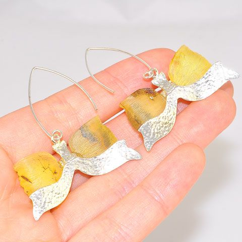 Sterling Silver Baltic Citrine Amber Bow Earrings