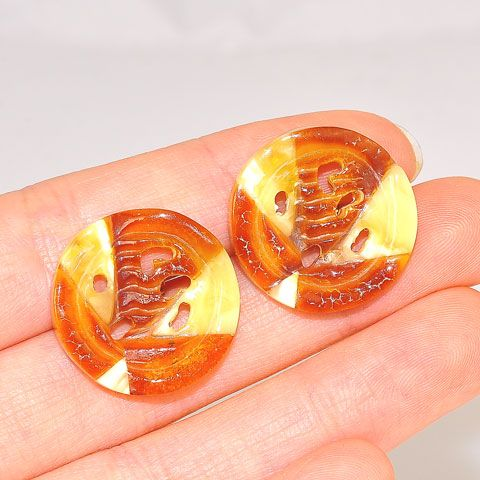 Sterling Silver Baltic Mosaic Amber Button Stud Earrings