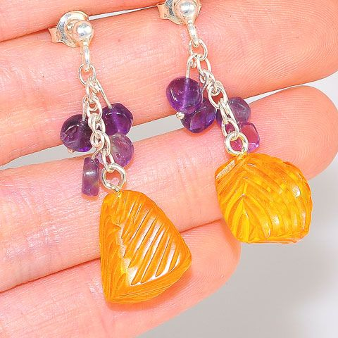 Sterling Silver Baltic Honey Amber and Amethyst Stud Earrings