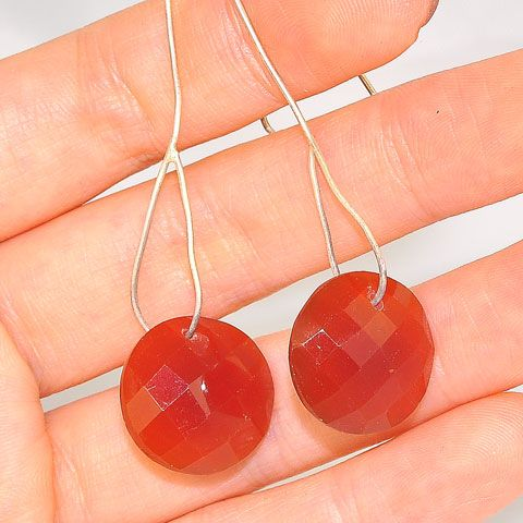 Sterling Silver Carnelian Faceted Earrings