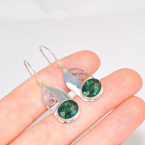 Sterling Silver Elegant Green Quartz Earrings