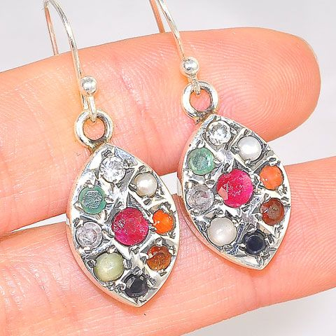 Sterling Silver India Navaratna Teardrop Earrings