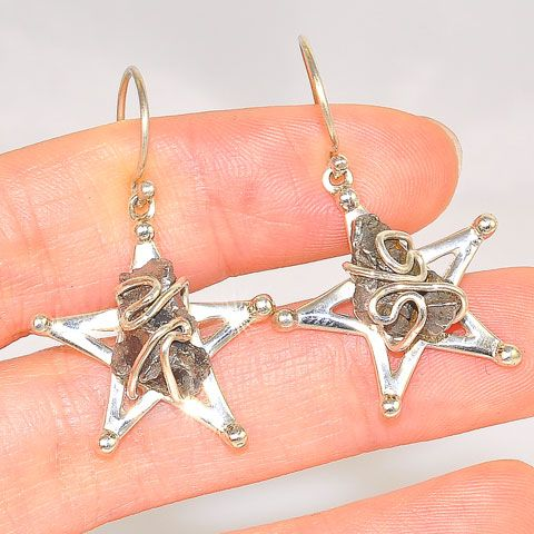 Sterling Silver Meteorite Magestic Star Earrings
