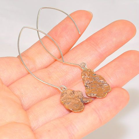 Sterling Silver Copper Piece Hook Earrings