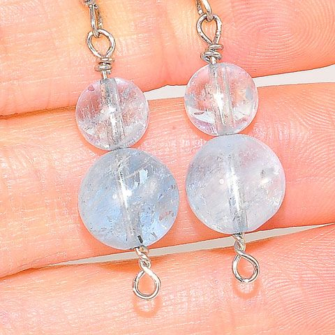 Sterling Silver Aquamarine Sphere Duet Earrings