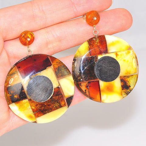 Sterling Silver Baltic Mosaic Amber Disc Stud Earrings