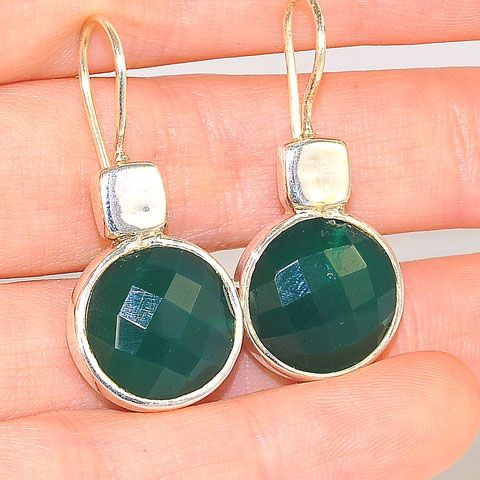 Sterling Silver India Green Onyx Earrings