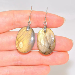 Sterling Silver Glowing Fire Labradorite Oval Hook Earrings