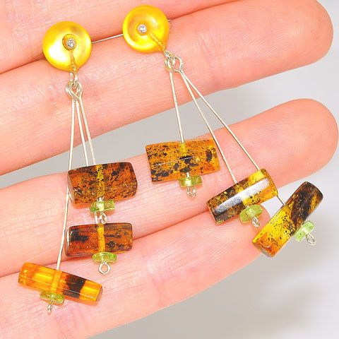 Sterling Silver Baltic Raw Amber, Baltic Butterscotch Amber and Peridot Stud Earrings