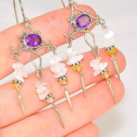 Sterling Silver Moonstone Chip, Amethyst and Citrine Intricate Earrings