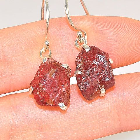 Sterling Silver 15.3-Carat Rough Garnet Earrings