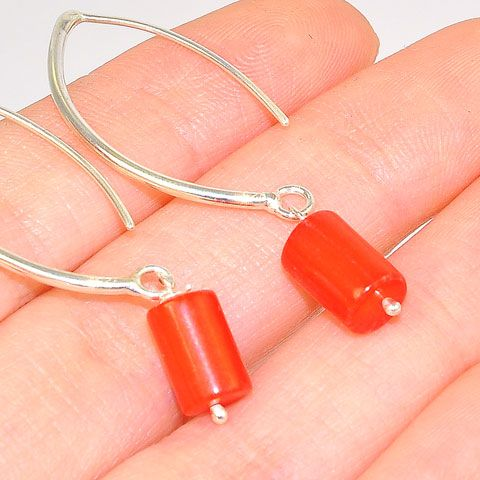Sterling Silver Coral Bar Hook Earrings