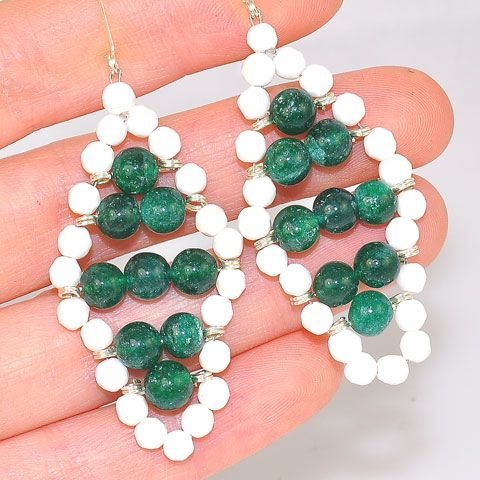 Sterling Silver Green Onyx and Agate Beaded Earrings