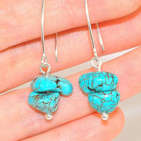 Sterling Silver Turquoise Nugget Hook Earrings