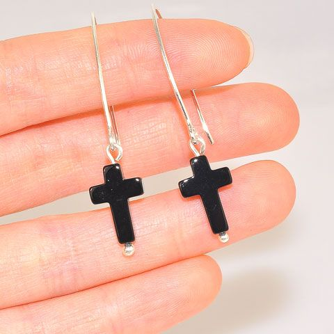 Sterling Silver Black Onyx Cross Earrings