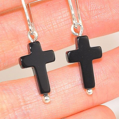 Sterling Silver Onyx Cross Hook Earrings