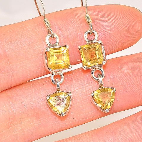 Sterling Silver Duet Citrine Earrings