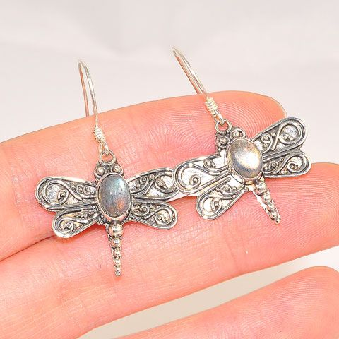 Sterling Silver Labradorite Dragonfly Earrings
