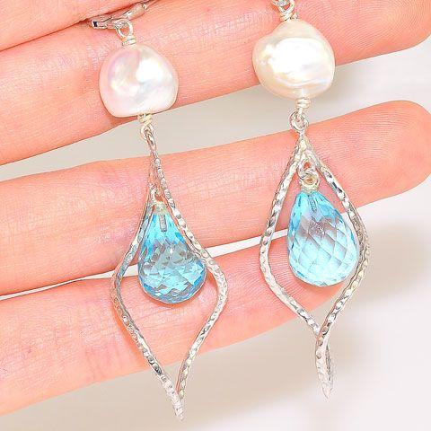Sterling Silver Blue Topaz and Freshwater Pearl Spiral Earrings