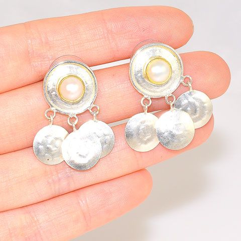 24K Gold Vermeil and Sterling Silver Pearl Stud Earrings