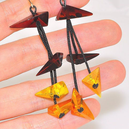 Sterling Silver Baltic Honey and Cherry Amber Pyramid Triangle Threaded Dangling Earrings
