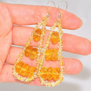 Sterling Silver Citrine Beaded Elongated Teardrop Earrings