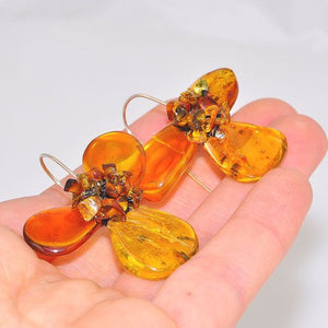 Sterling Silver Baltic Honey Amber Flower Earrings