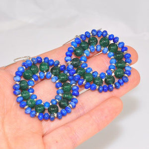 Sterling Silver Lapis Lazuli and Green Onyx Beaded Circle Earrings