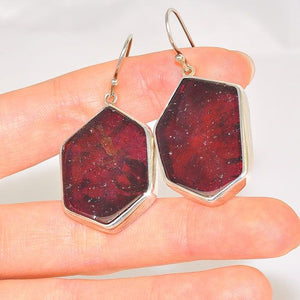 Sterling Silver Top Grade Garnet Piece Earrings